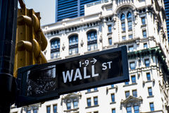 Wall Street Miasto Nowy Jork Szyldowy Pieniężny usa Duży Apple obraz stock