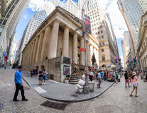 Wall Street near the Federal Hall in New York Stock Photos