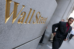 Wall Street in New York City royalty free stock photo