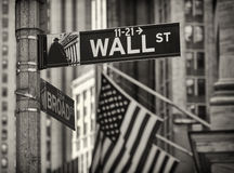 The Wall Street in New York city. Royalty Free Stock Photography
