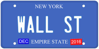 Wall Street New York License Plate. An imitation New York license plate with December 2016 stickers and WALL ST written on it making a great concept.  Words on Stock Photography