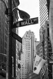 Wall Street. New York, NY, USA – October 12, 2012: Photo taken of the Wall Street sign during a visit to New York in 2012 Stock Photos