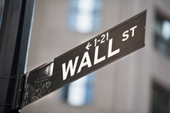 Wall street New York. Street sign Royalty Free Stock Images