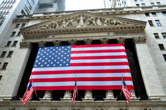 Wall Street New York Stock Exchange. Building with US flag, in august 2010 Stock Images
