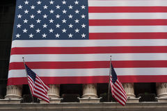 Wall street New York Stock Exchange with American flag Royalty Free Stock Photography