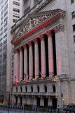 Wall Street with New York Stock Exchange in Manhattan, December Royalty Free Stock Image