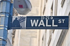 Wall Street and the New York Stock Exchange, New York City, USA. Wall Street past the New York Stock Exchange, New York City, USA royalty free stock photography