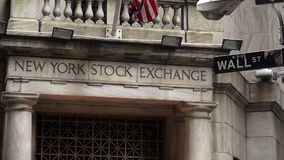 Wall Street New York Stock Exchange NYSE USA cityscapes stock video footage