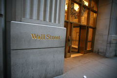 Wall street in New York Royalty Free Stock Photo