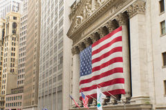 Wall Street in New York. (USA). Horizontally. Stock Images