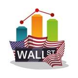 Wall street new york chart graph flag USA. Wall street new york vector illustration eps 10 stock illustration