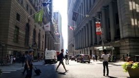 Wall Street, NYC. Wall Street with no traders stock images