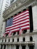 Wall Street nyse. Us flag at nyse building Stock Photo