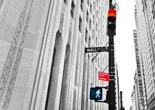 Wall Street: ¿Pare o vaya? Imagenes de archivo