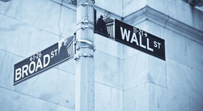 Wall Street road sign corner of NY Stock Exchange. Wall Street road sign in the corner of New York Stock Exchange, Manhattan an icon of global investment Royalty Free Stock Photo