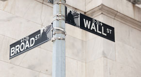 Wall Street road sign corner of NY Stock Exchange. Wall Street road sign in the corner of New York Stock Exchange, Manhattan an icon of global investment Royalty Free Stock Photos