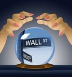Wall Street, segnale stradale viene a fuoco dentro la sfera di cristallo di un indovino in questa immagine circa il mercato azion illustrazione vettoriale