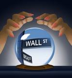 Wall Street, segnale stradale viene a fuoco dentro la sfera di cristallo di un indovino in questa immagine circa il mercato azion illustrazione di stock