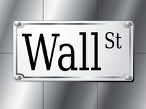 Wall Street Sign. Illustration of Wall Street sign on silver wall background Stock Photo