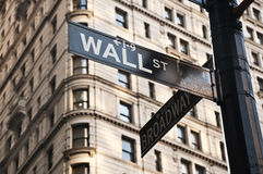 Wall Street sign. Street sign at the corner between Wall Street and Broadway (New York City Royalty Free Stock Images