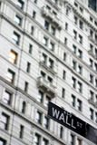 Wall street sign. Wall street, NY Royalty Free Stock Images