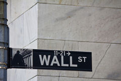 Wall Street Sign. In New York Stock Images