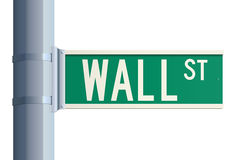 Wall Street sign. Green isolated Wall Street sign on a metallic post (concept of finance Stock Photography
