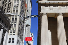 Wall Street sign. Is the financial district of New York City Stock Images