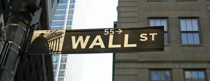 Wall Street Sign. A Wall Street sign in the financial disctrict in New York City royalty free stock photo