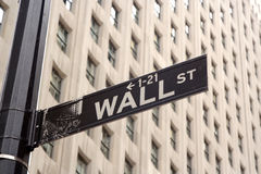 Wall Street Sign. In the famous downtown financial district in New York City, USA Stock Image