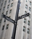 Wall Street Sign. A Wall Street sign in the financial disctrict in New York City Stock Photography