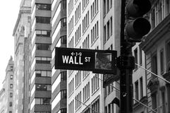 Wall Street sign. In black and white royalty free stock photos