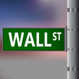 Wall street sign on blurred background. Vector street sing Royalty Free Stock Image