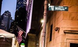 Free Wall Street Sign Board In Night Stock Photos - 164692363