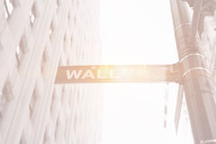 Wall street sign with building and bright light Stock Images