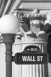 Wall Street Sign with Corinthian Columns. Black and white image of a Wall Street sign post in front of rows of Corinthian columns Royalty Free Stock Photo