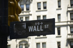 Wall Street Sign Financial New York City USA Big Apple Royalty Free Stock Photos