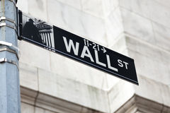 Wall Street sign in lower Manhattan New York  - USA - United Sta Stock Photos