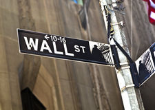 A Wall Street sign in Manhattan New Royalty Free Stock Photography