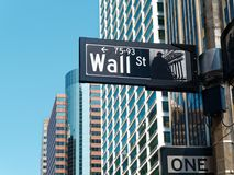 Wall street sign Manhattan New York City USA. Wall street sign in Manhattan New York City USA Stock Photography