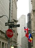 Wall Street sign near the New York Stock Exchange Royalty Free Stock Images