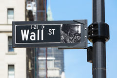 Wall Street sign near Stock Exchange, financial district Royalty Free Stock Image