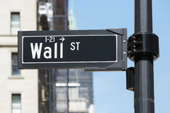Wall Street sign near Stock Exchange, financial district Royalty Free Stock Photography