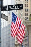 Wall street, New York, USA. Wall street sign in New York with American flags and New York Stock Exchange background Stock Photo