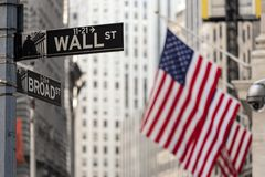 Wall street sign in New York with American flags and New York Stock Exchange background. Wall street sign in New York City with American flags and New York Stock Photo