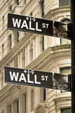 Wall street sign in New York city. Close-up view Royalty Free Stock Image