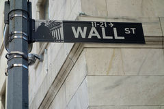 Wall Street Sign. A Wall Street sign, in New York City stock photos