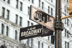 Wall street sign in New York. City Royalty Free Stock Image