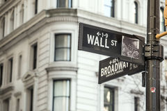 Wall street sign in New York. City Royalty Free Stock Photo