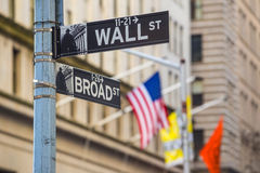 Wall street sign in New York. City Royalty Free Stock Photography